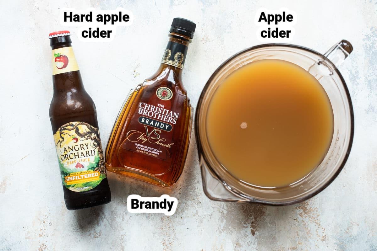 Labeled ingredients for brandy apple cider slush.