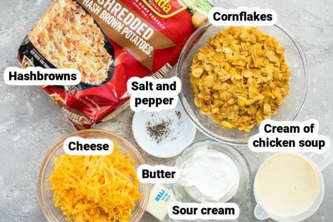 Labeled ingredients for cheesy potato casserole