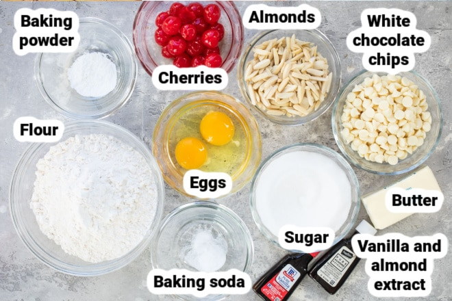 Labeled ingredients for cherry almond biscotti