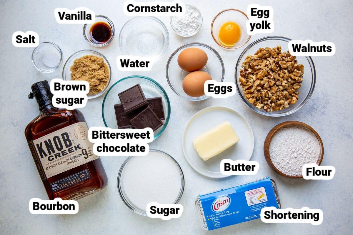 Chocolate walnut pie ingredients.