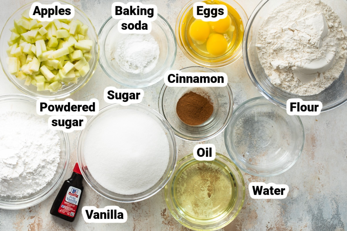 Labeled ingredients for cinnamon apple cake.