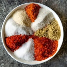 A plate of homemade fajita seasoning.