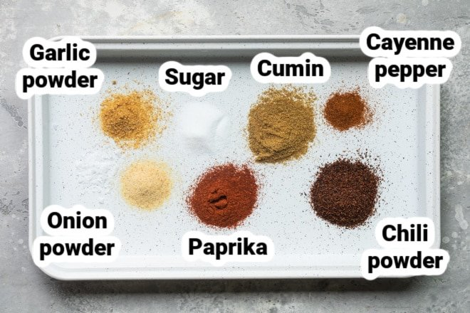 Labeled spices for fajita seasoning.