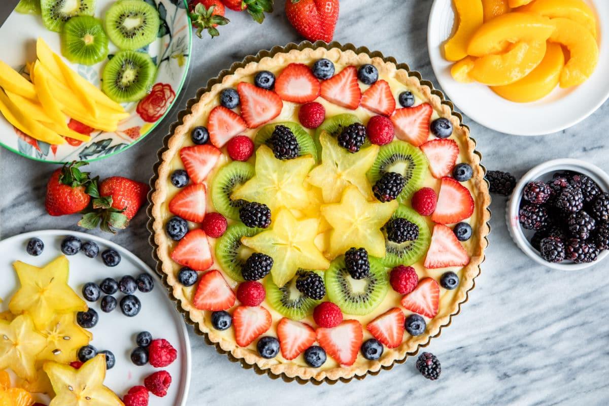A decorated Fresh Fruit Tart.
