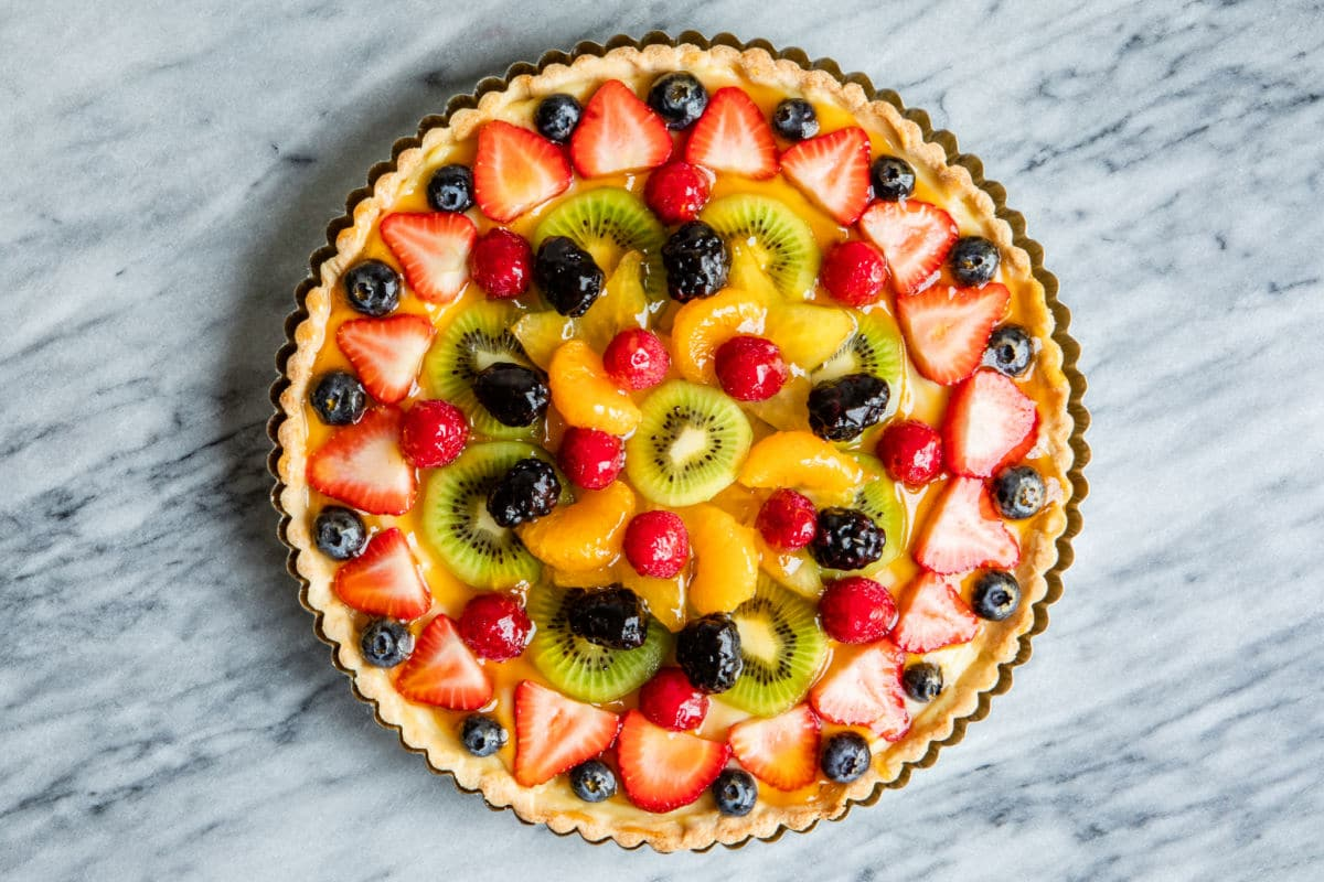 A fresh fruit tart.