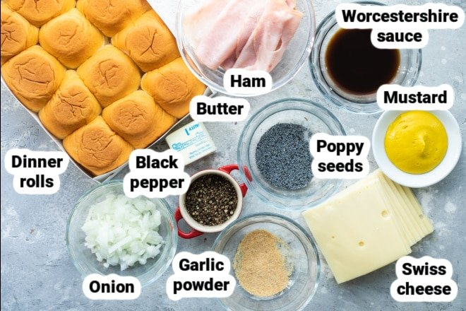 Labeled ingredients for ham and cheese sliders.