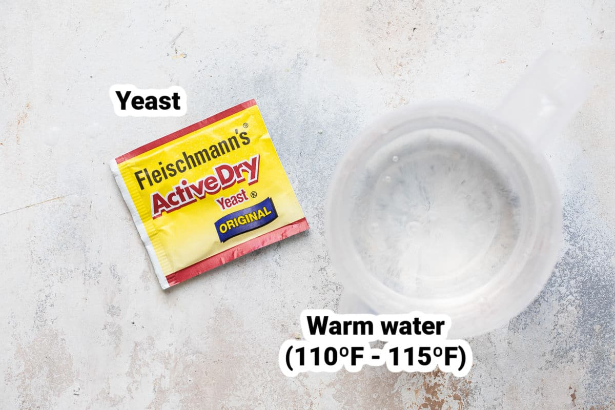 Ingredients for how to activate yeast (yeast and warm water).