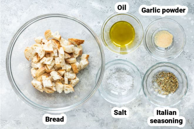 Labeled ingredients for how to make croutons.