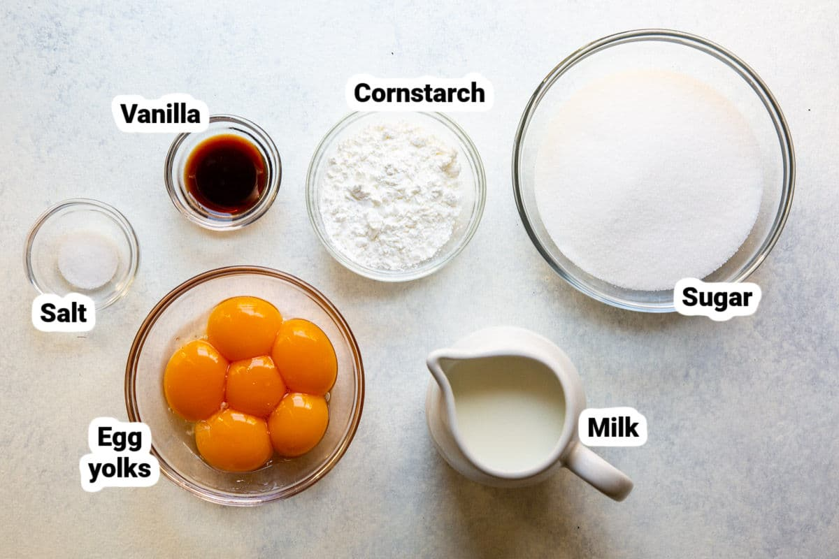 Labeled pastry cream ingredients.