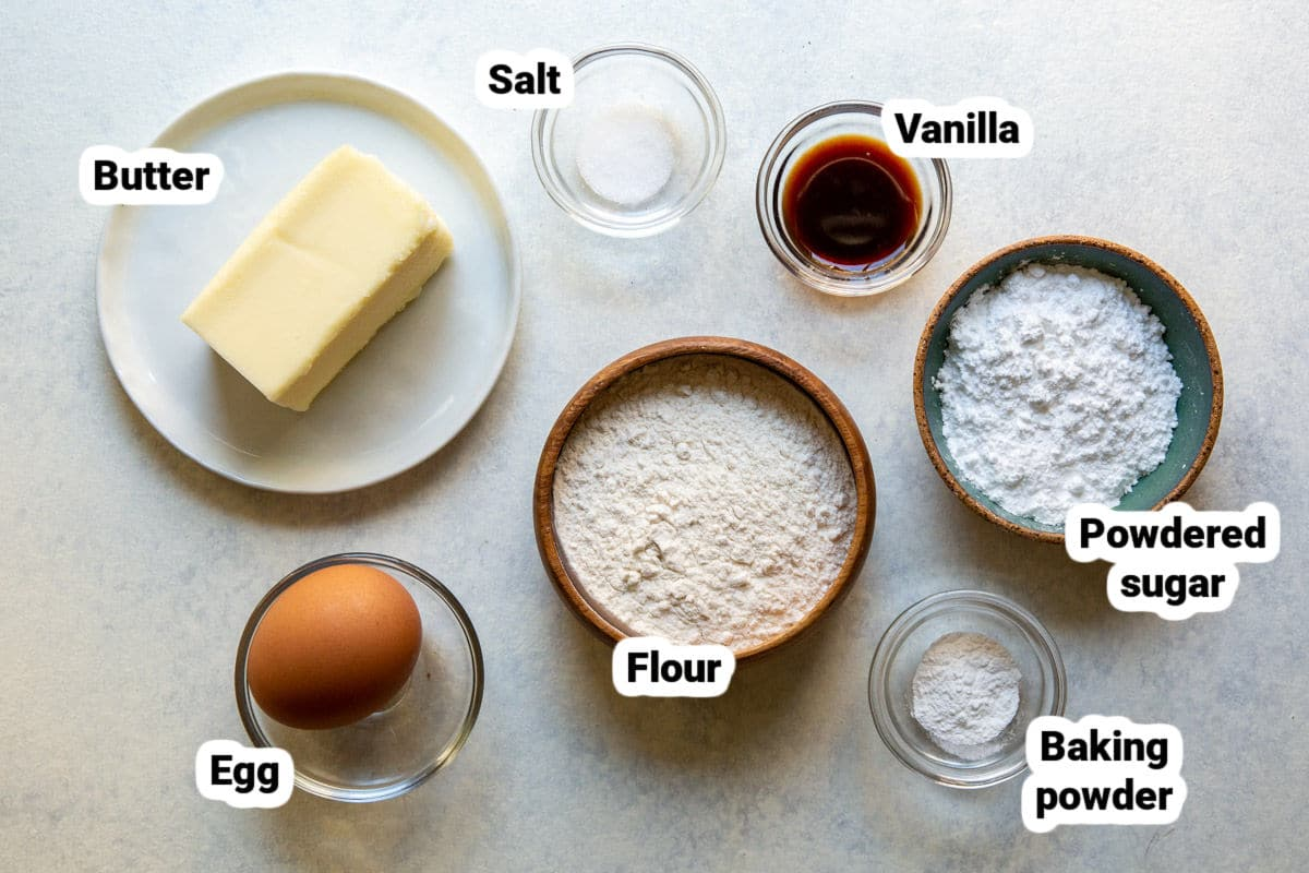 Labeled tart crust ingredients.