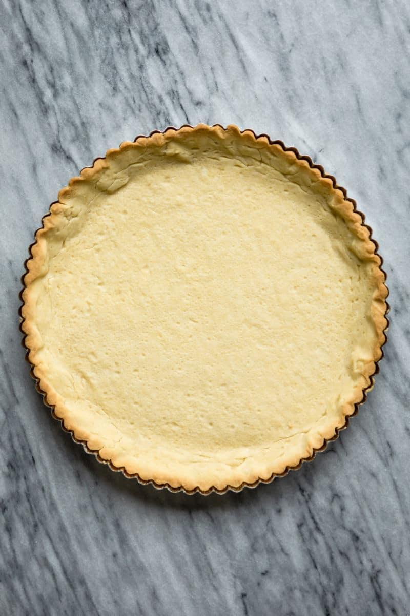 A baked tart crust.