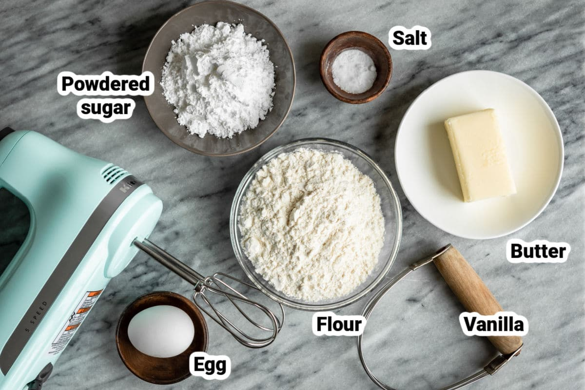 Ingredients for a tart crust.