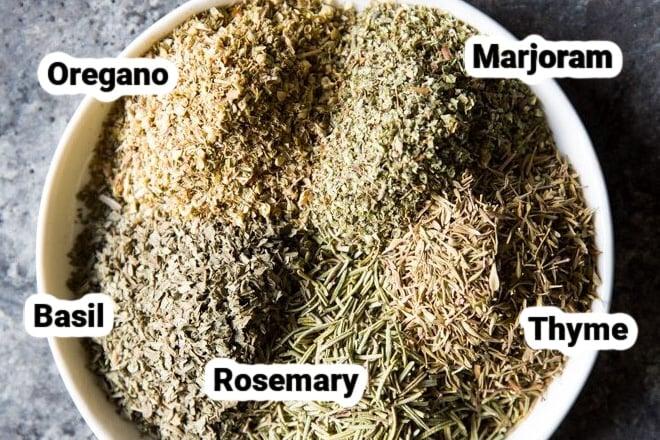 Ingredients for Italian seasoning.