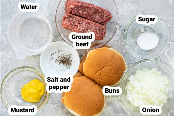 Labeled ingredients for loose meat sandwiches