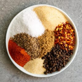 Montreal Steak Seasoning spices on a plate.