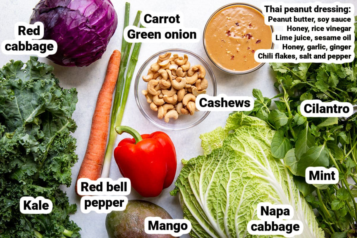 Labeled ingredients for Rainbow Thai Salad.