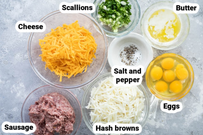 Labeled ingredients for sausage hash brown casserole