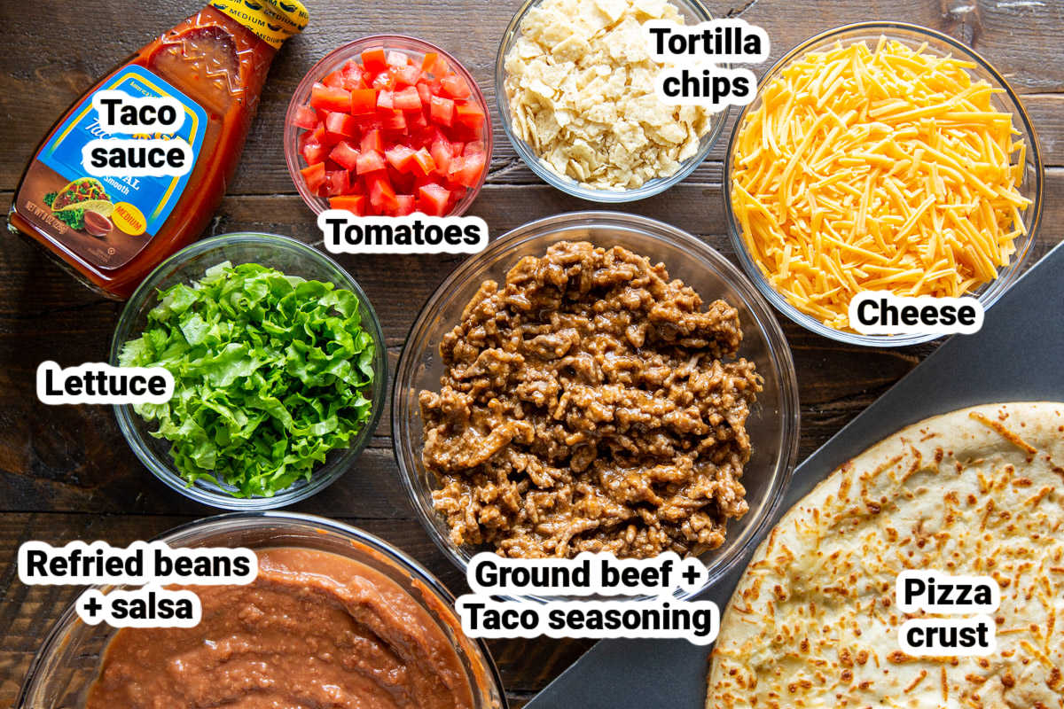 Taco pizza ingredients.