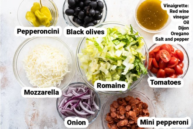 Labeled ingredients for antipasto salad.