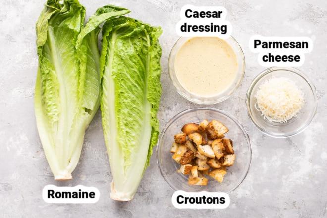 Labeled ingredients for Caesar Salad.