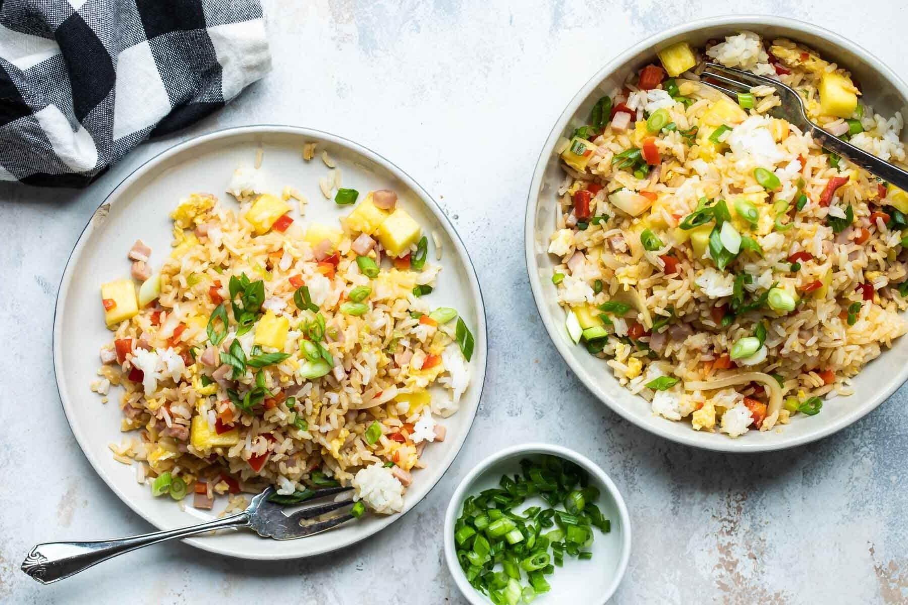 Two bowls full of Hawaiian fried rice.