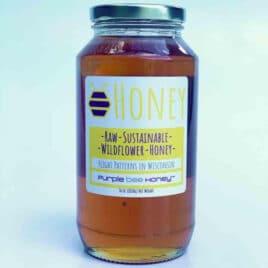 Raw honey from purple bee honey.