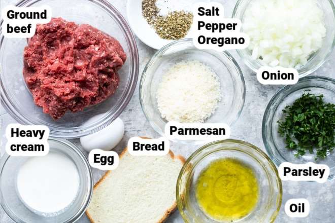 Labeled ingredients for Italian meatballs.