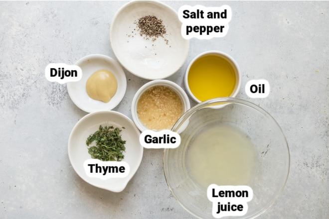 Labeled ingredients for lemon vinaigrette.