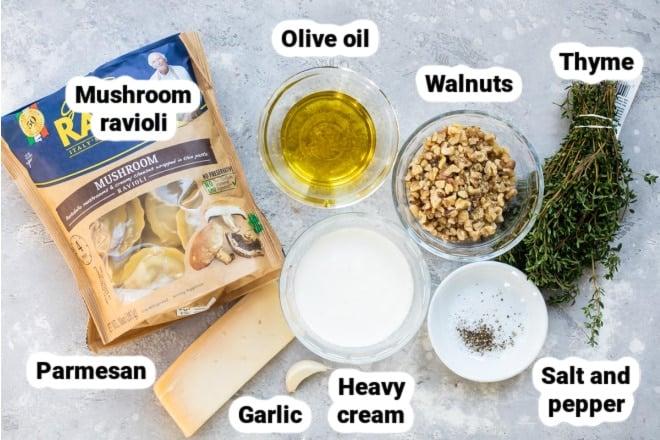 Labeled mushroom ravioli with walnut sauce ingredients.