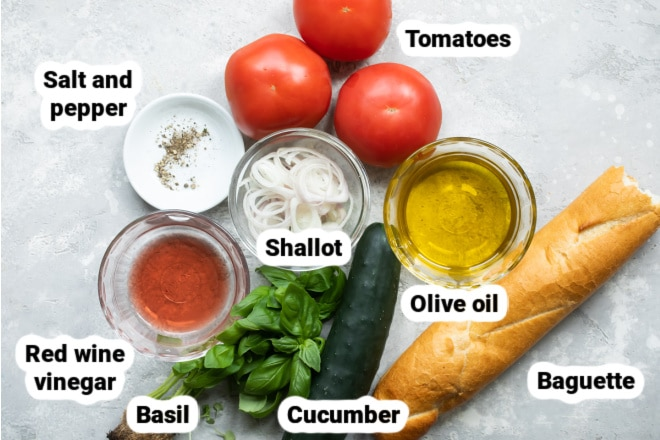 Labeled ingredients for a panzanella salad.