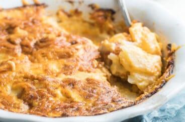 A baking dish full of scalloped potatoes.