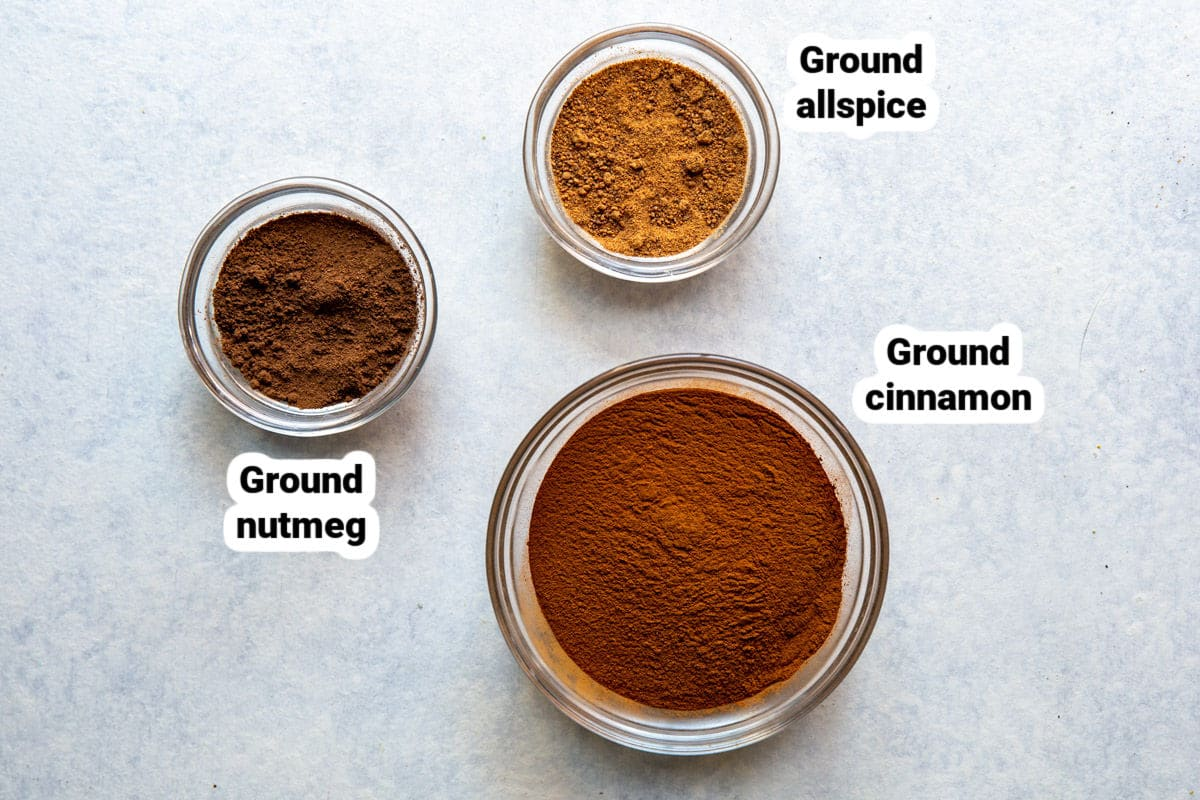 Ingredients for apple pie spice.