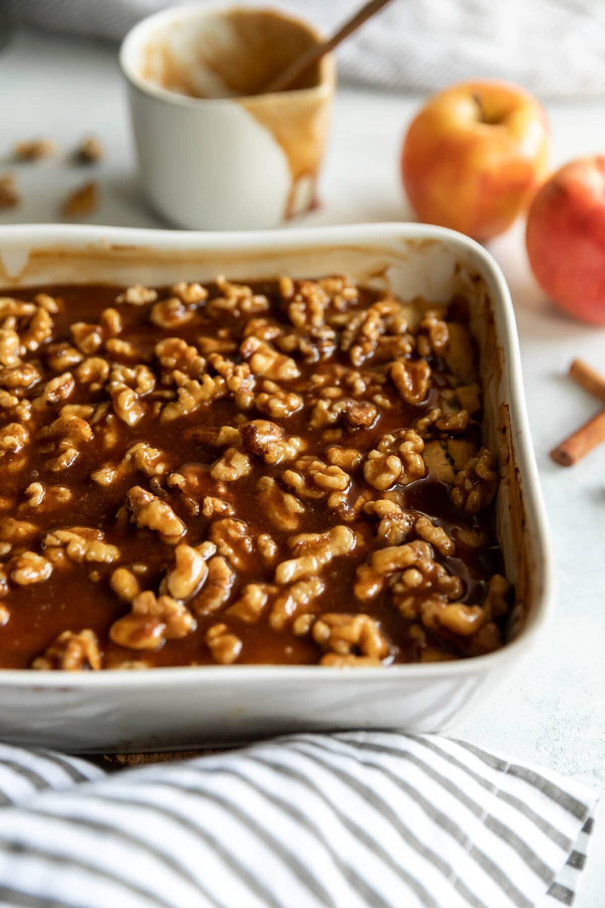 A pan of apple walnut cobbler.