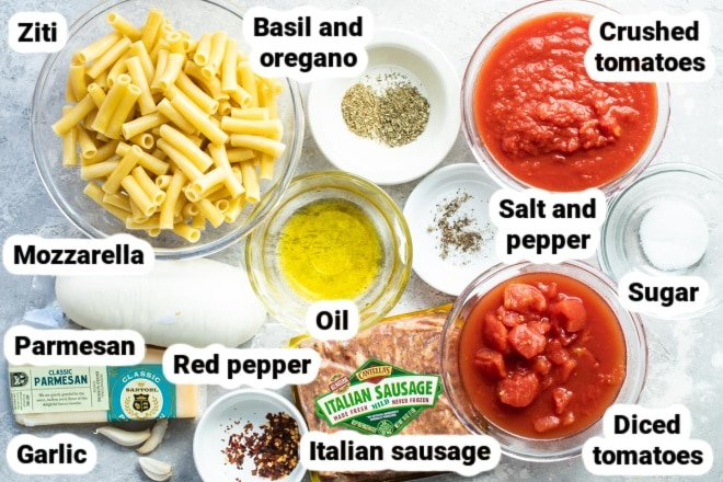 Labeled ingredients for baked ziti.