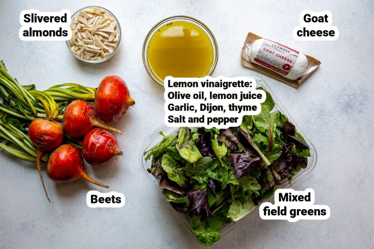 Beet salad and lemon vinaigrette ingredients.