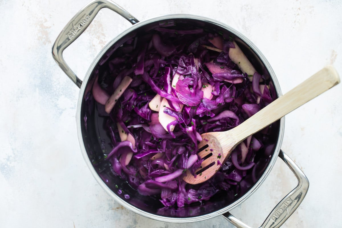 A saucepan full of braised red cabbage.