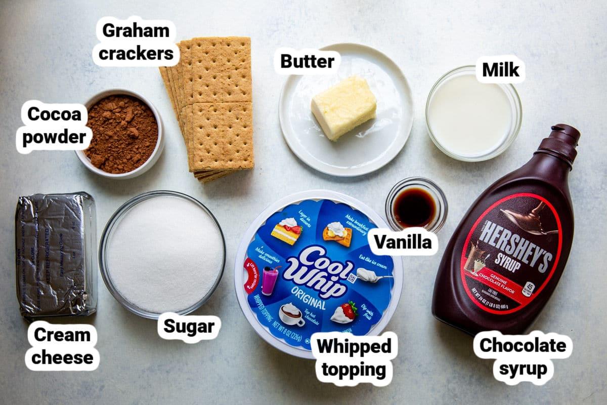 Chocolate cream pie ingredients.