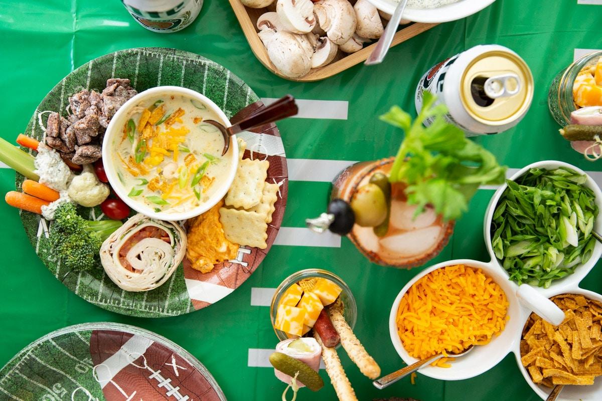 A football-themed spread on a table.
