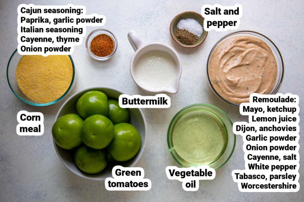 Fried green tomato ingredients.