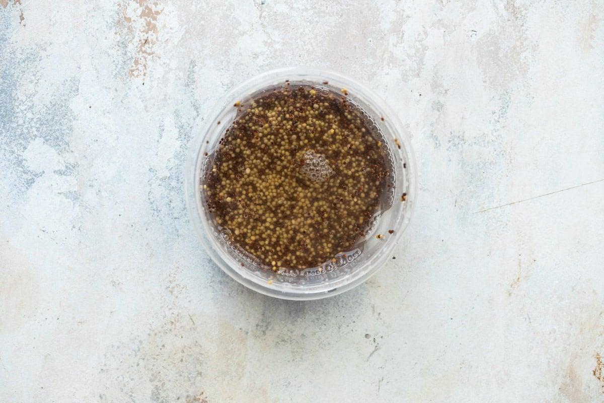 Soaking mustard seeds to make whole grain mustard.