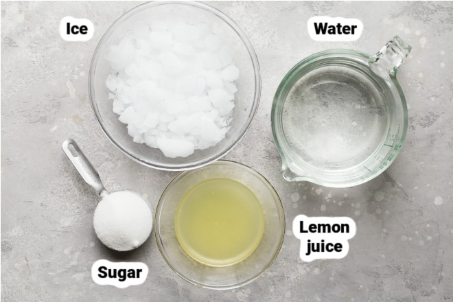 Labeled ingredients for how to make lemonade.