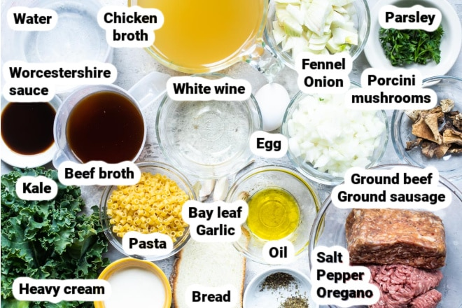 Labeled ingredients for Italian Wedding soup.