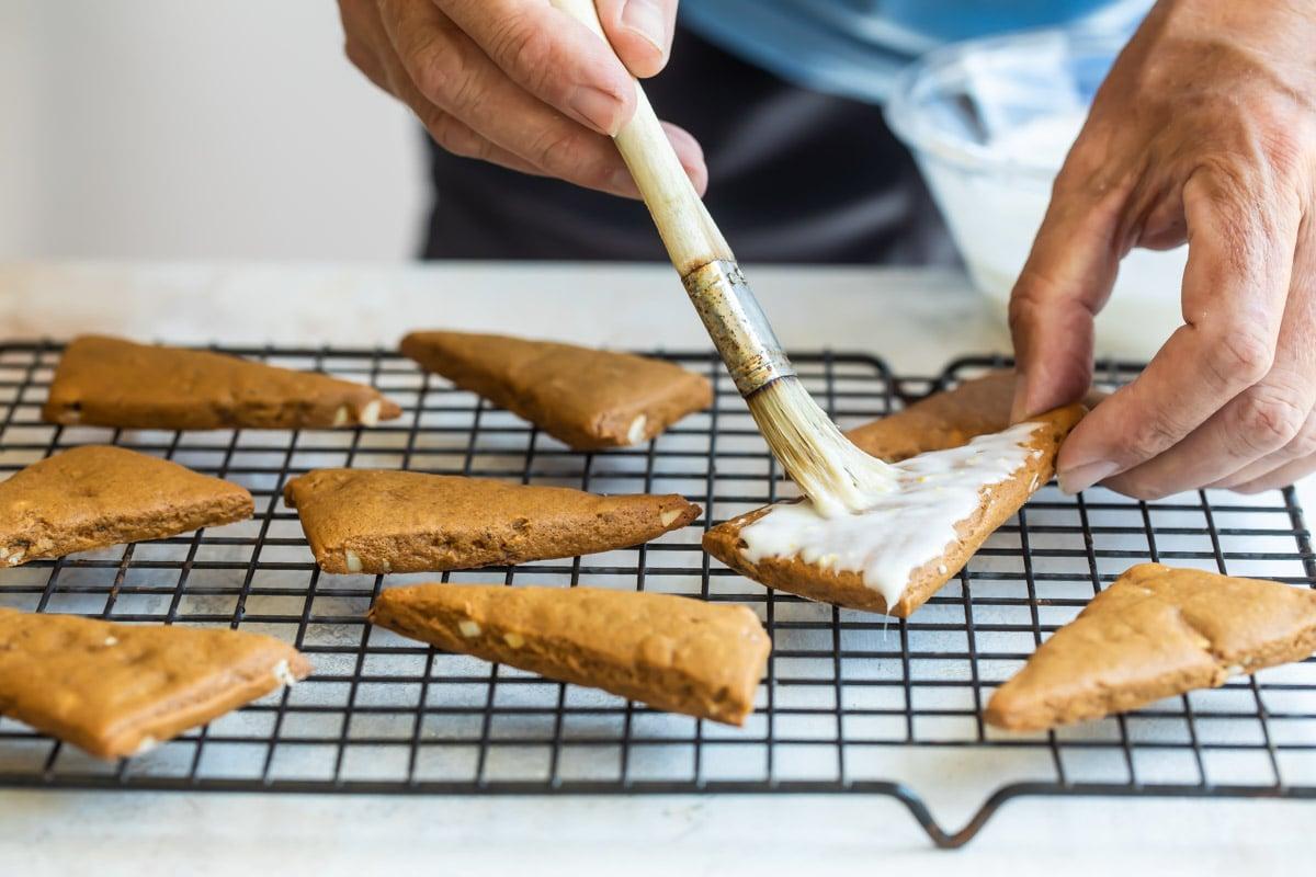 Baked Lebkuchen cooling on a baking rack.