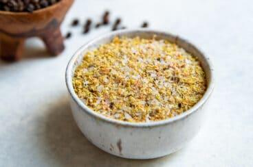 A bowl of homemade lemon pepper seasoning.