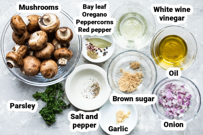 Labeled ingredients for marinated mushrooms