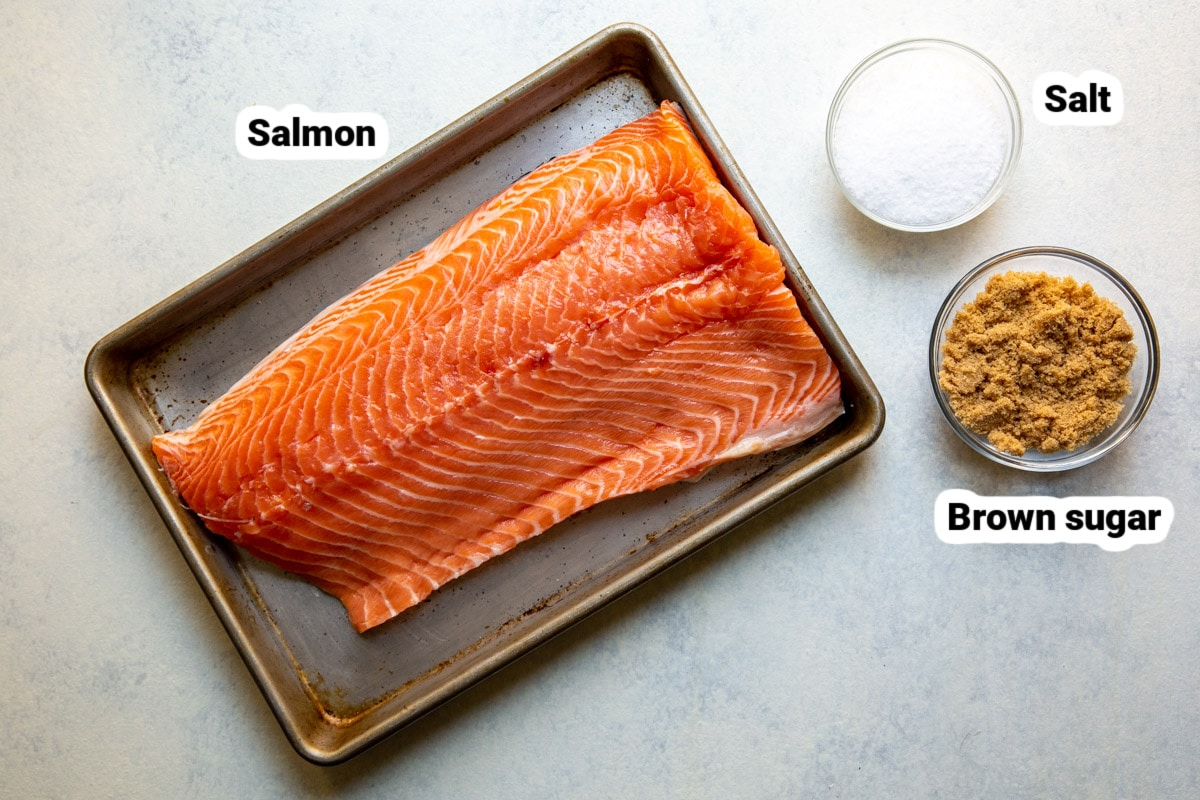 Labeled ingredients for smoked salmon.