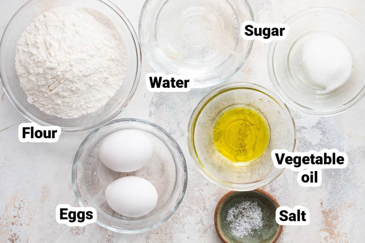 Ingredients for strudel dough.