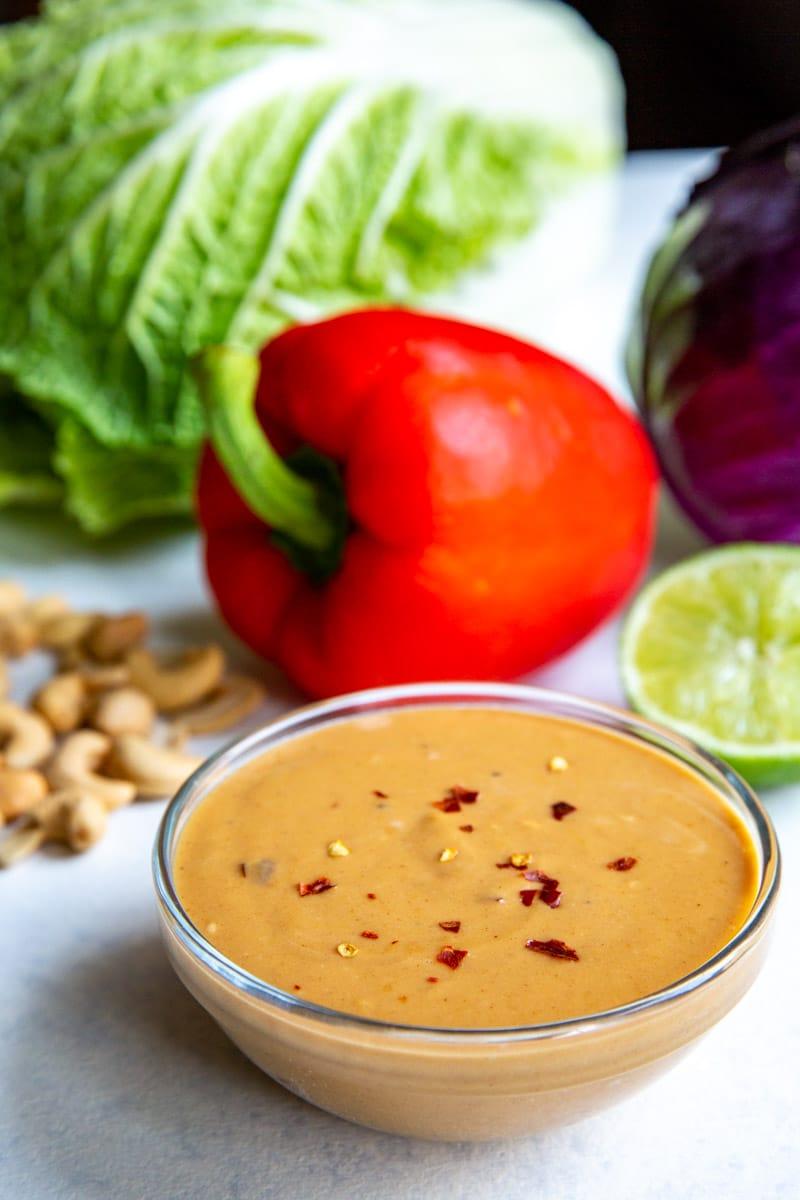 A bowl of Thai peanut dressing.