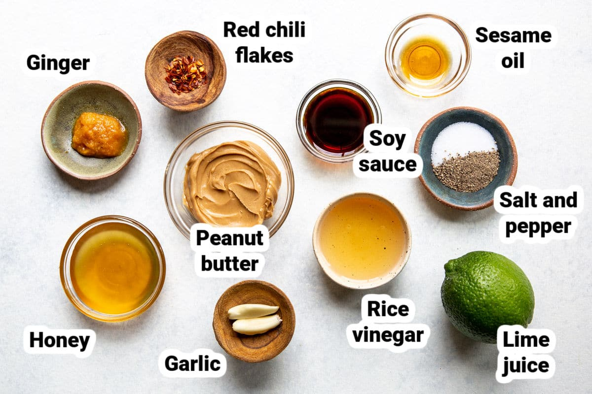 Labeled Thai peanut dressing ingredients.