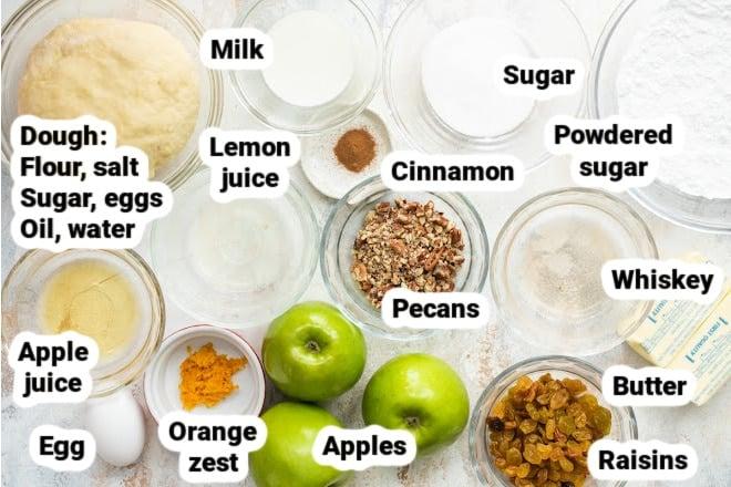 Labeled ingredients for Apple Strudel.